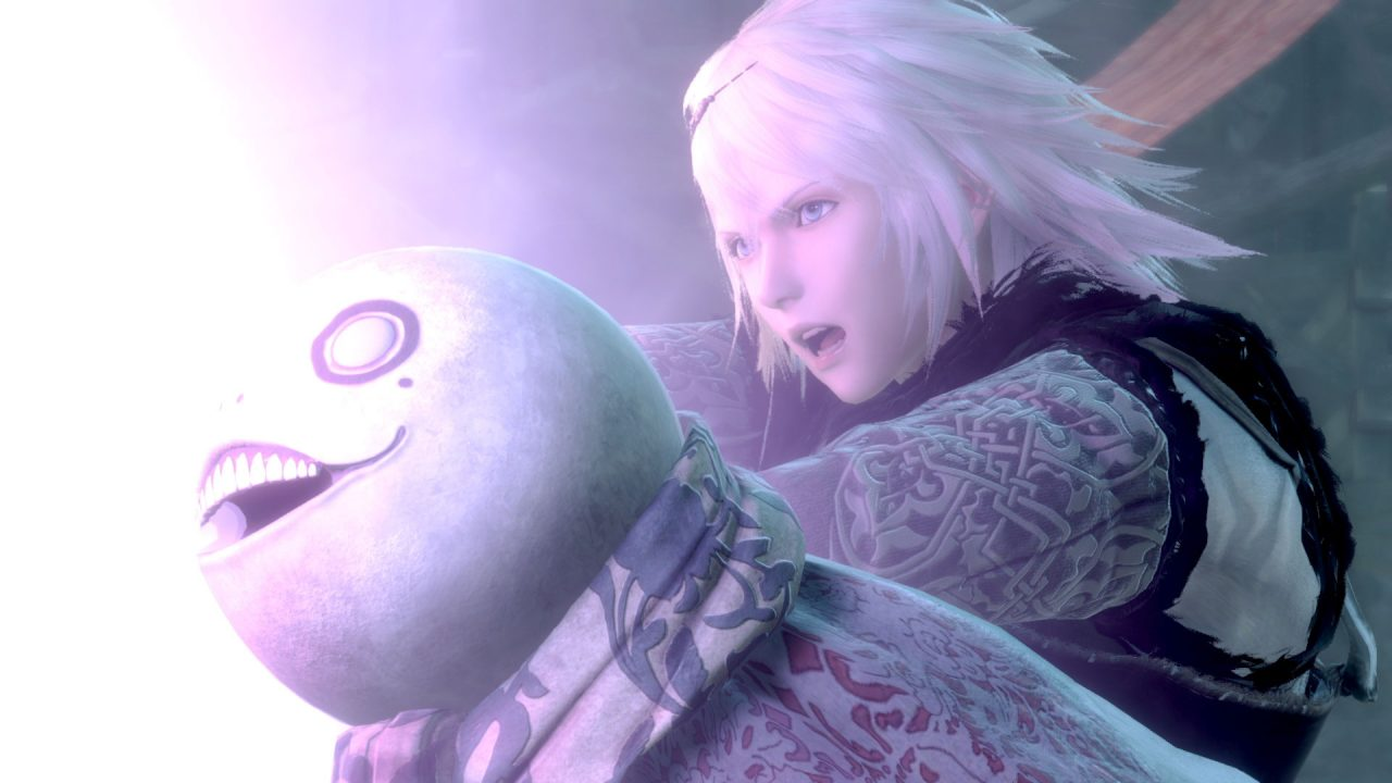 The adult protaginist of NieR Replicant ver122474487139 next to his friend Emil, a skeletal boy, in front of a purple magic light.