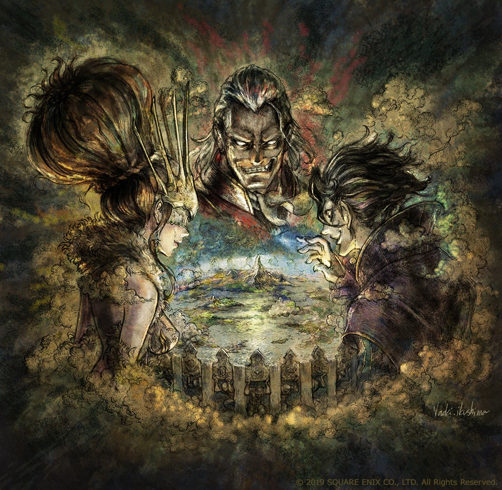 The three central antagonists of Octopath Traveler: Champions of the Continent, gathered around an image of the continent of Orsterra.