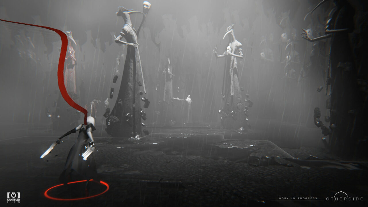 Othercide screenshot featuring a black and white battle scene with a daughter posing away from the camera a striking red scarf flowing above her.