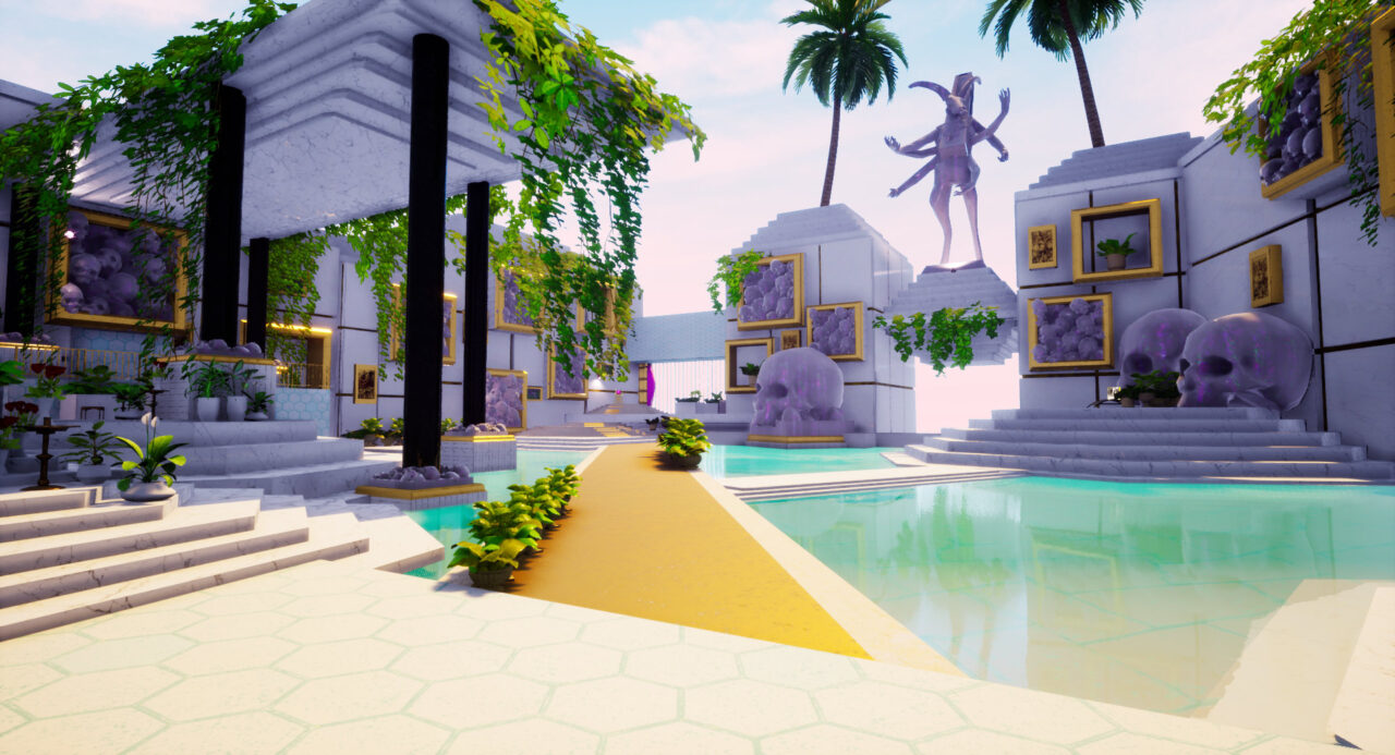 Paradise Killer screenshot - a pool area with white walls and a skull motif with the pool on the right and a covered terrace with greenery on the left.