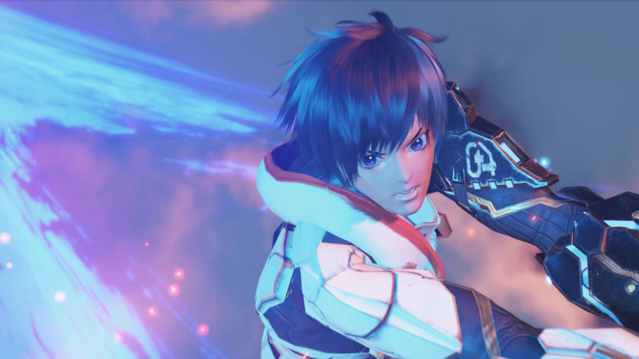 A close-up focuses on a character in battle.