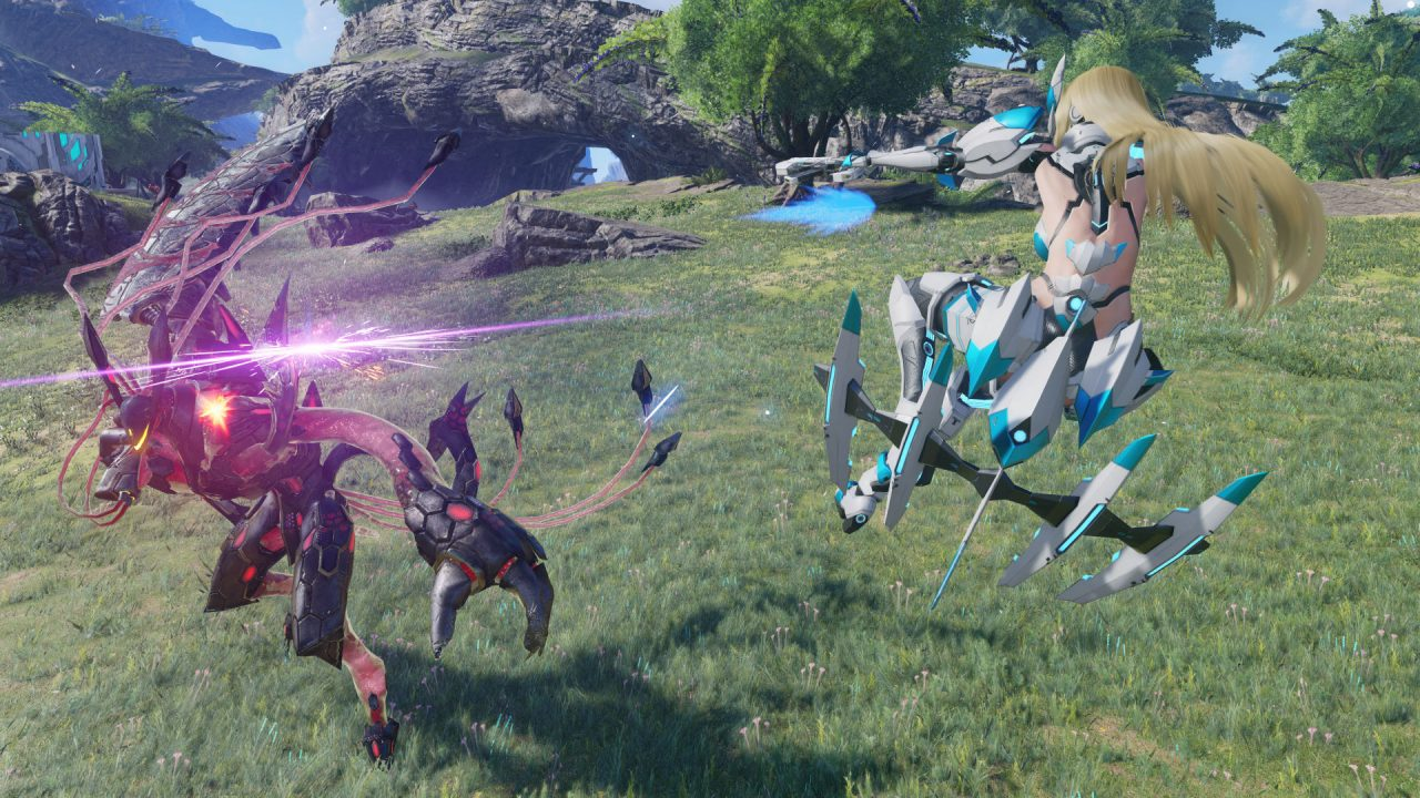 A character fires a projectile while in midair.