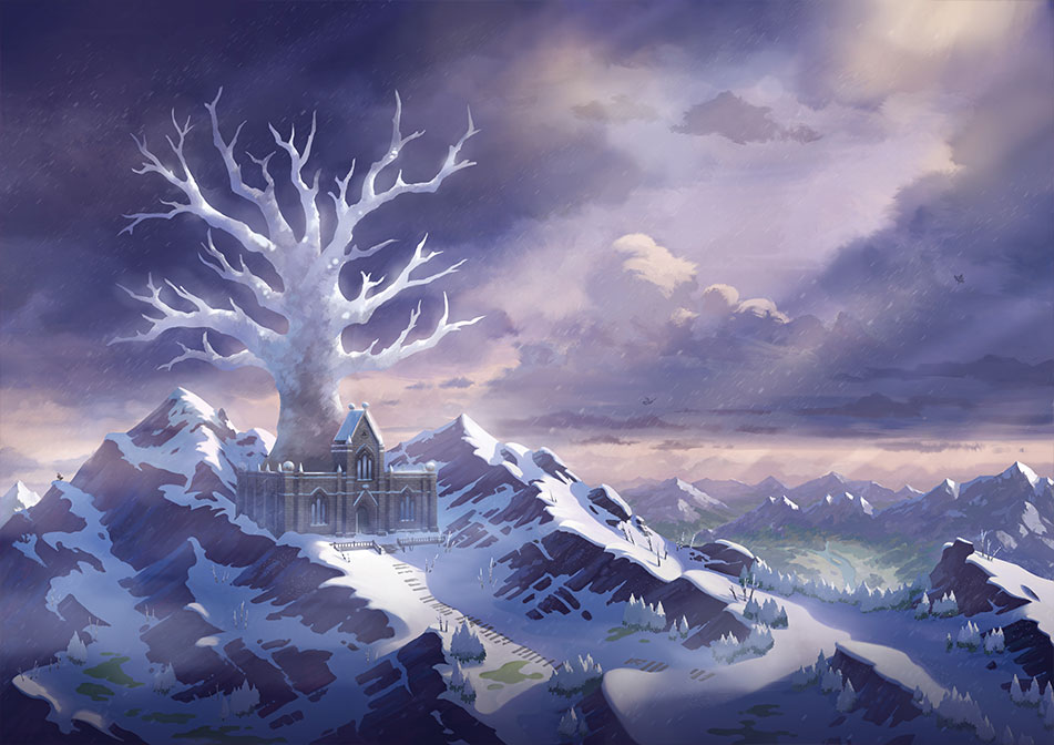 A vista of the icy wilderness in Pokemon Sword and Shield's Crown Tundra DLC.
