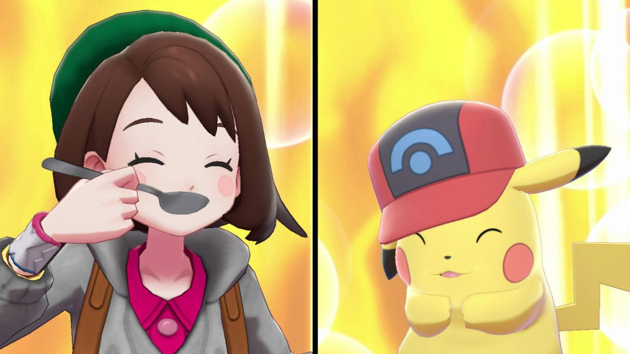 Gloria and Pikachu enjoy some curry together in Pokémon Sword & Shield.