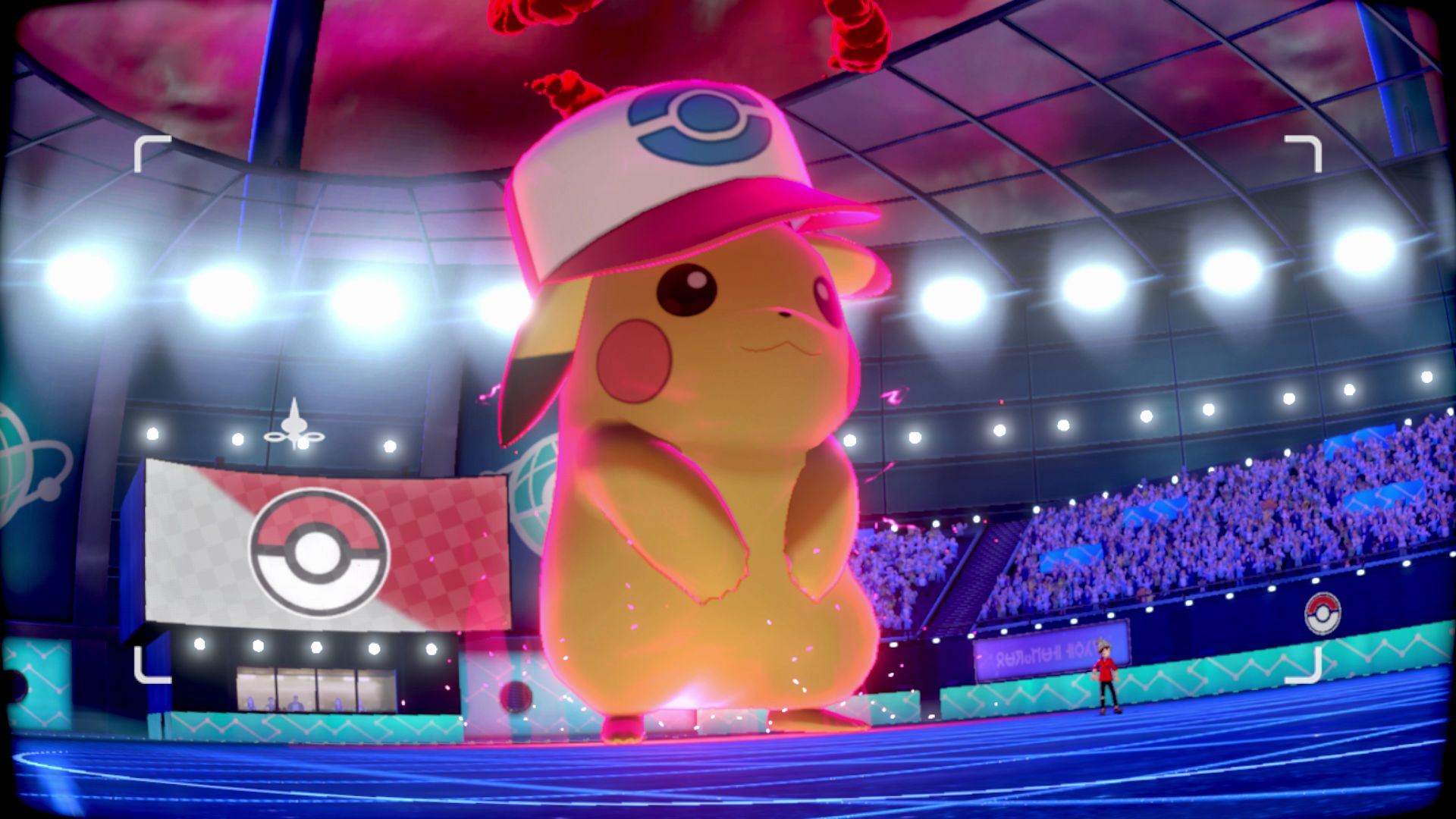 Gigantamax Pikachu takes the stage in Pokemon Sword and Shield.