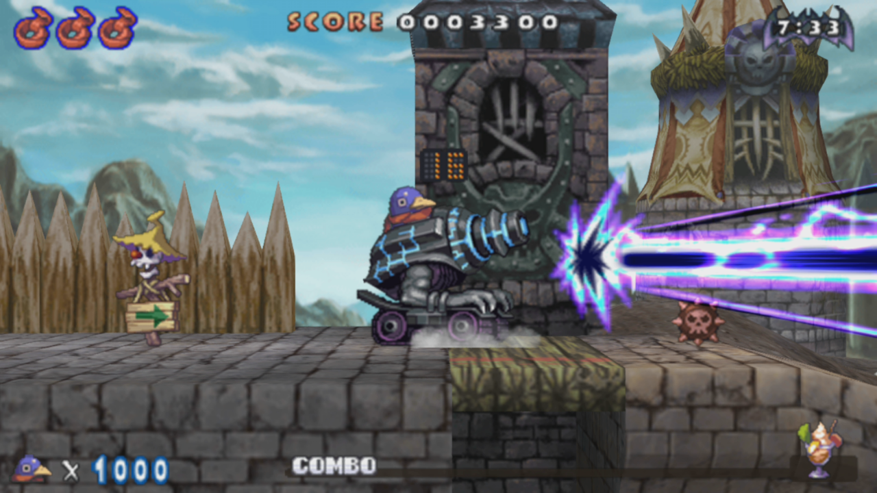 A sign appears to be directing a Prinny manning a laser cannon where to shoot as it rolls along. The cannon is actively shooting purple and blue energy.