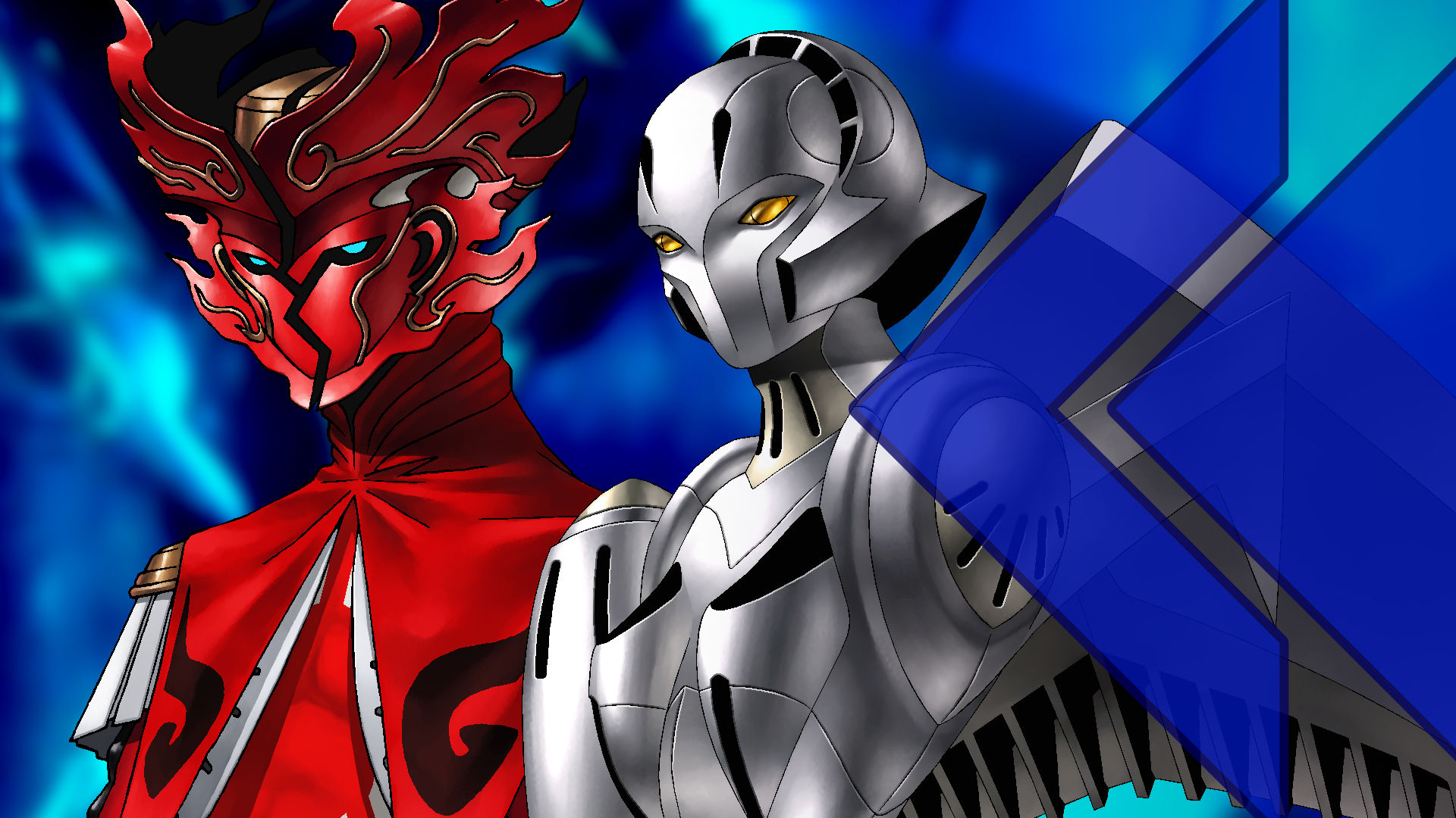 A flaming red persona with an ornate mask stands near a silver robotic-looking persona with golden eyes