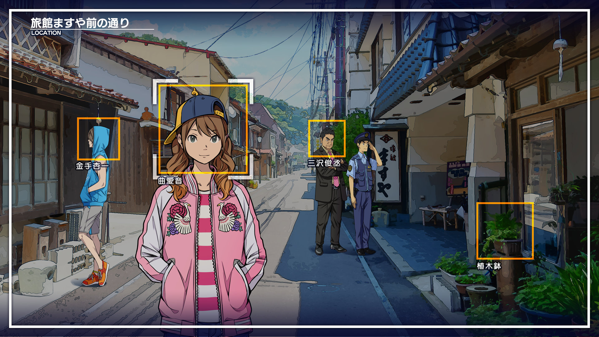 The player targets two characters for inspection in Root Film.