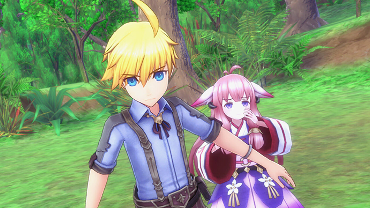 Screenshot From Rune Factory 5 Featuring A Character Shielding Someone From Harm
