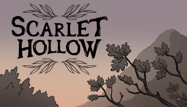 The logo for Scarlet Hollow written large against a twilight backdrop.