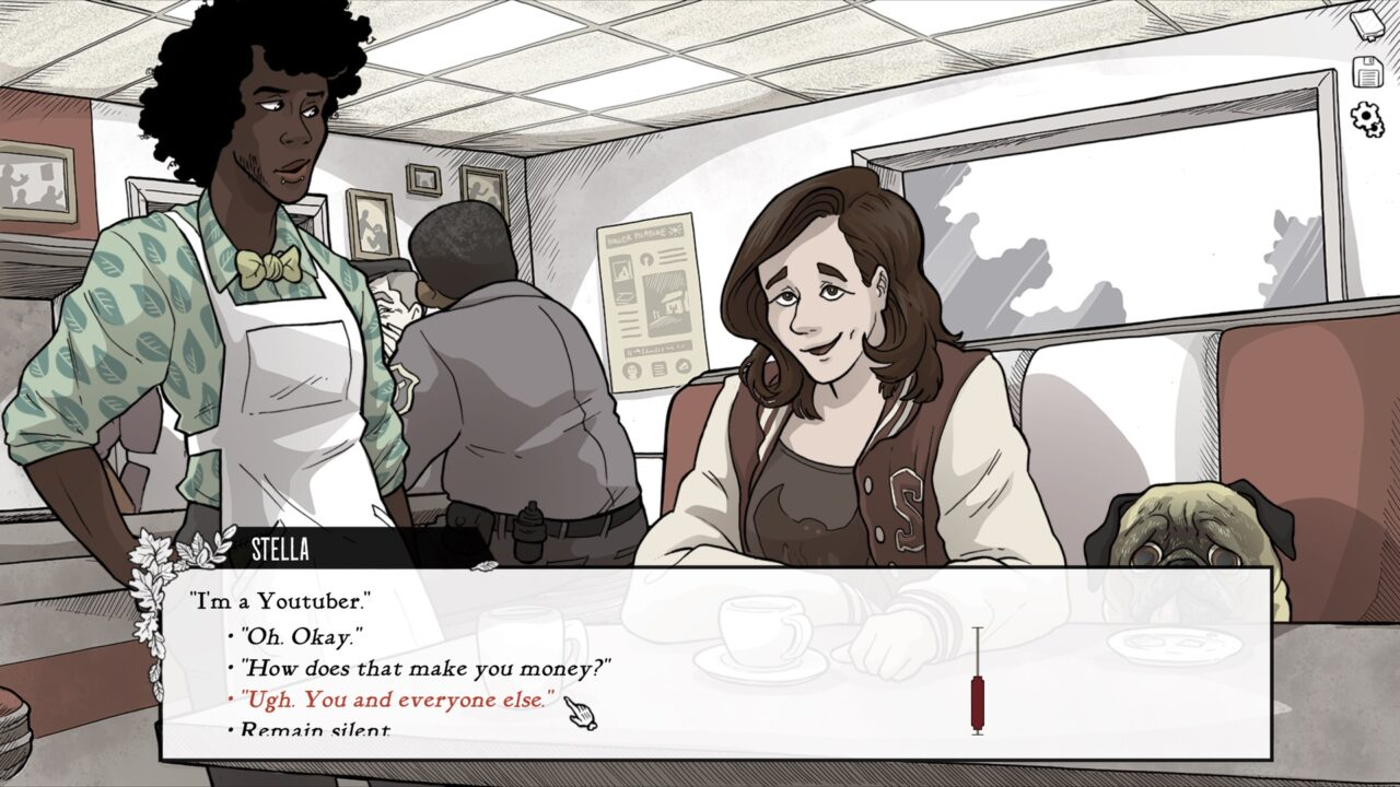 A town local speaks with the player character in a text-based exchange.