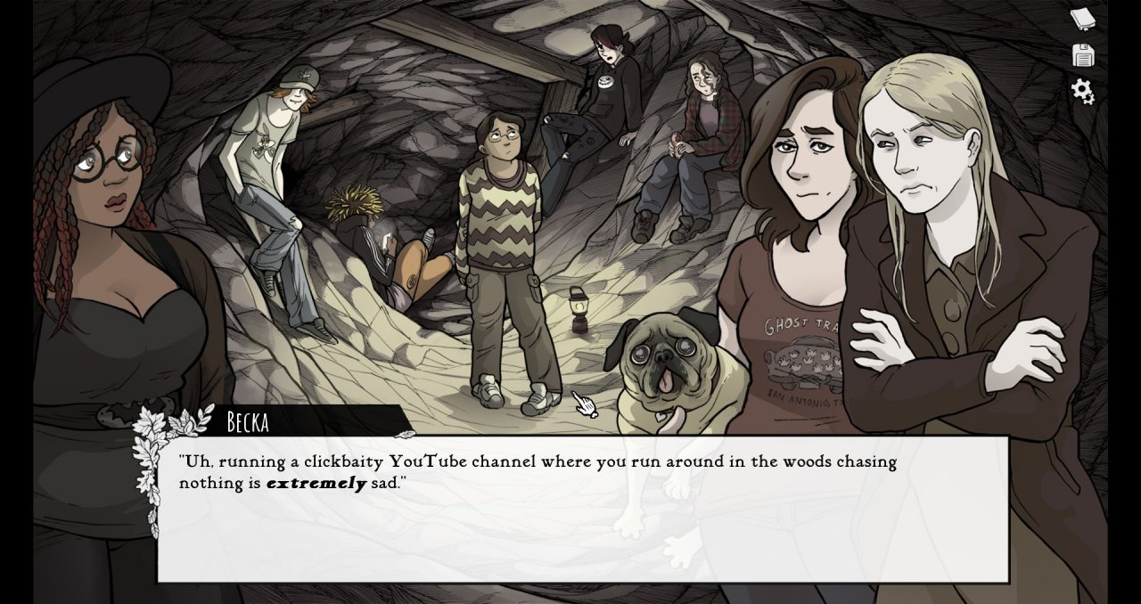 Teenagers speaking before they think when you encounter them in a cavern in Scarlet Hollow - Episode 2.