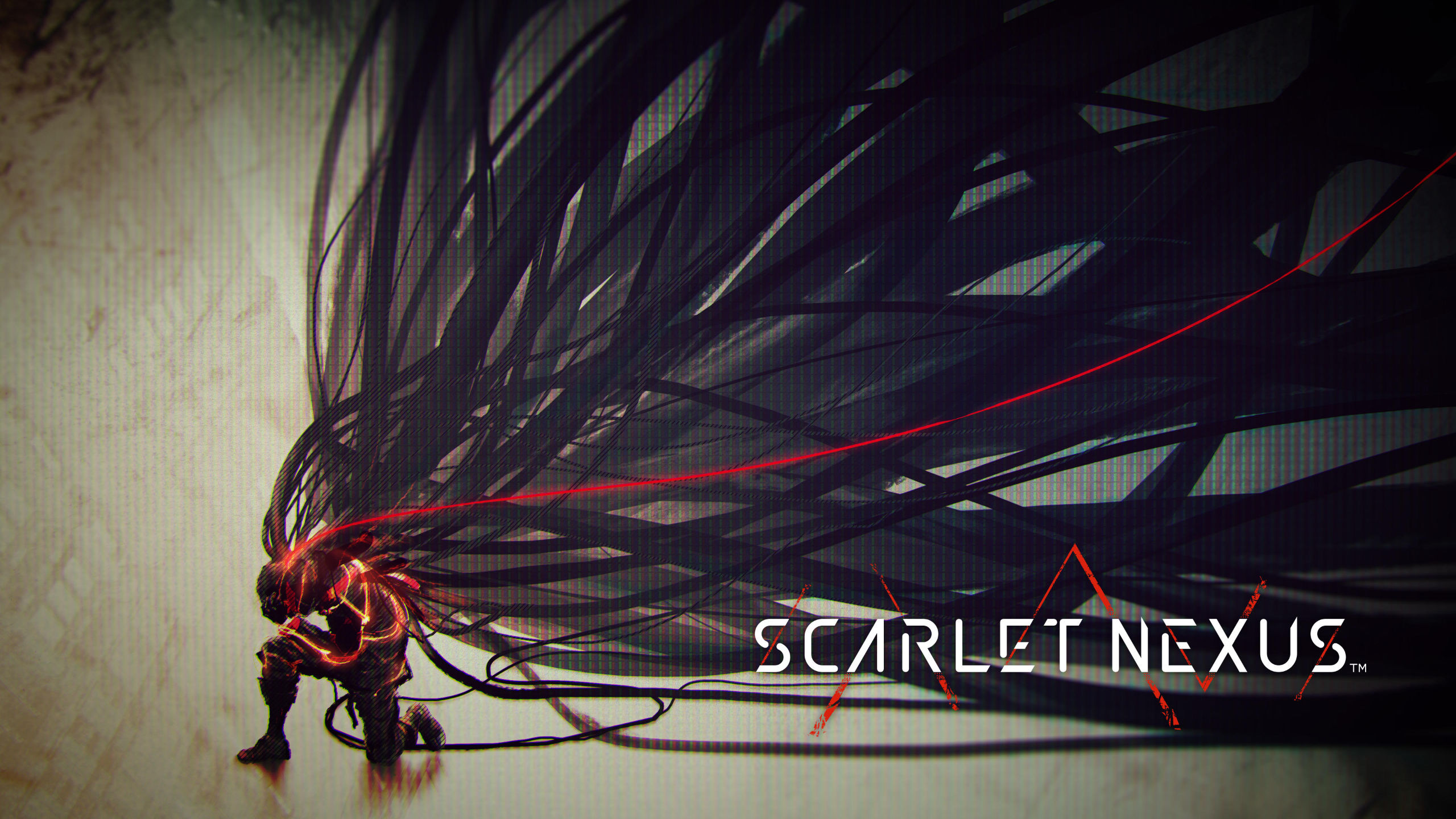 A Scarlet Nexus character with wires coming from the back of their head