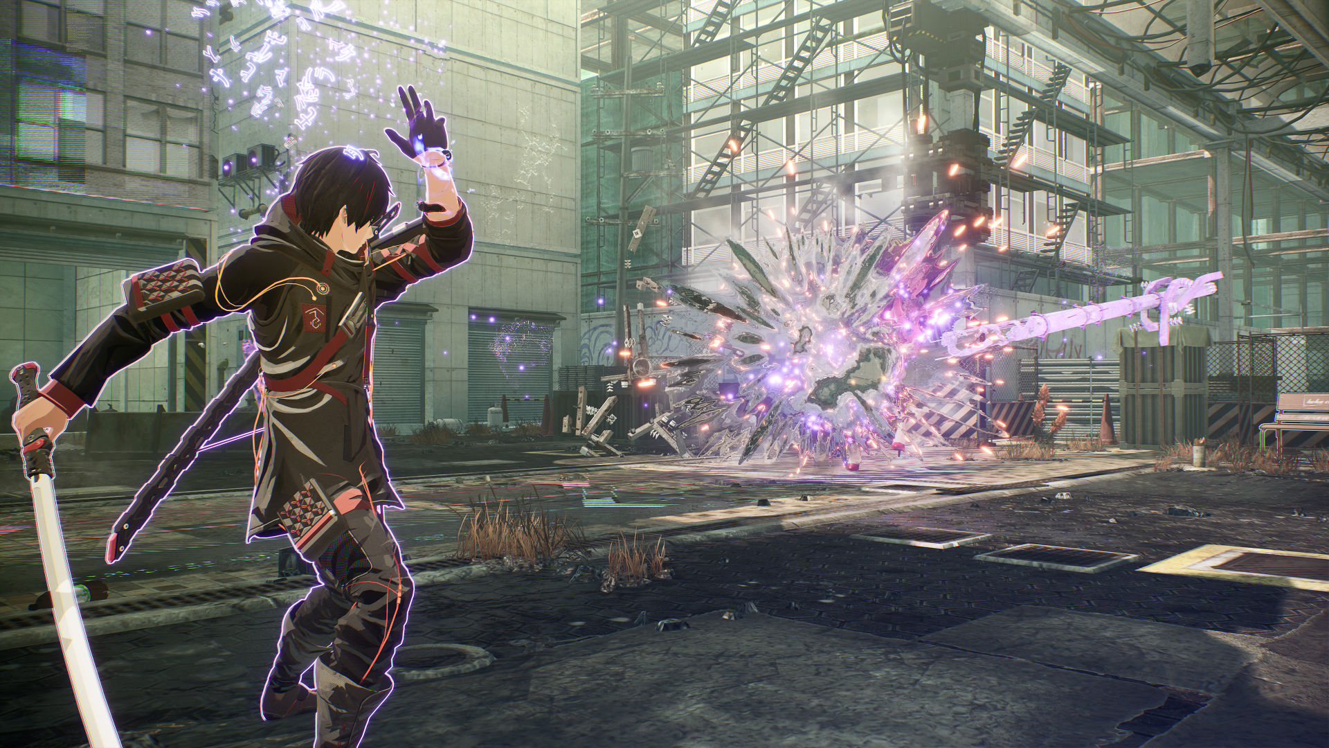Yuito Sumeragi, a protagonist of Scarlet Nexus, uses the power of pyschokinesis to throw an object at an enemy, wreathed in purple light.