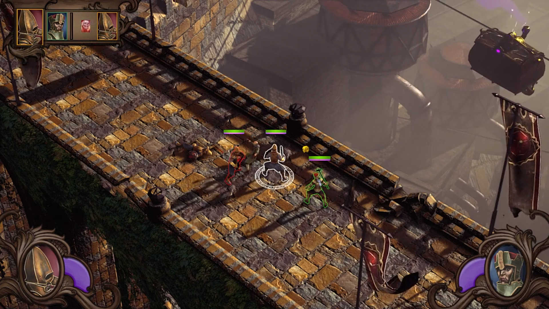 Isometric view of a battle on a bridge.