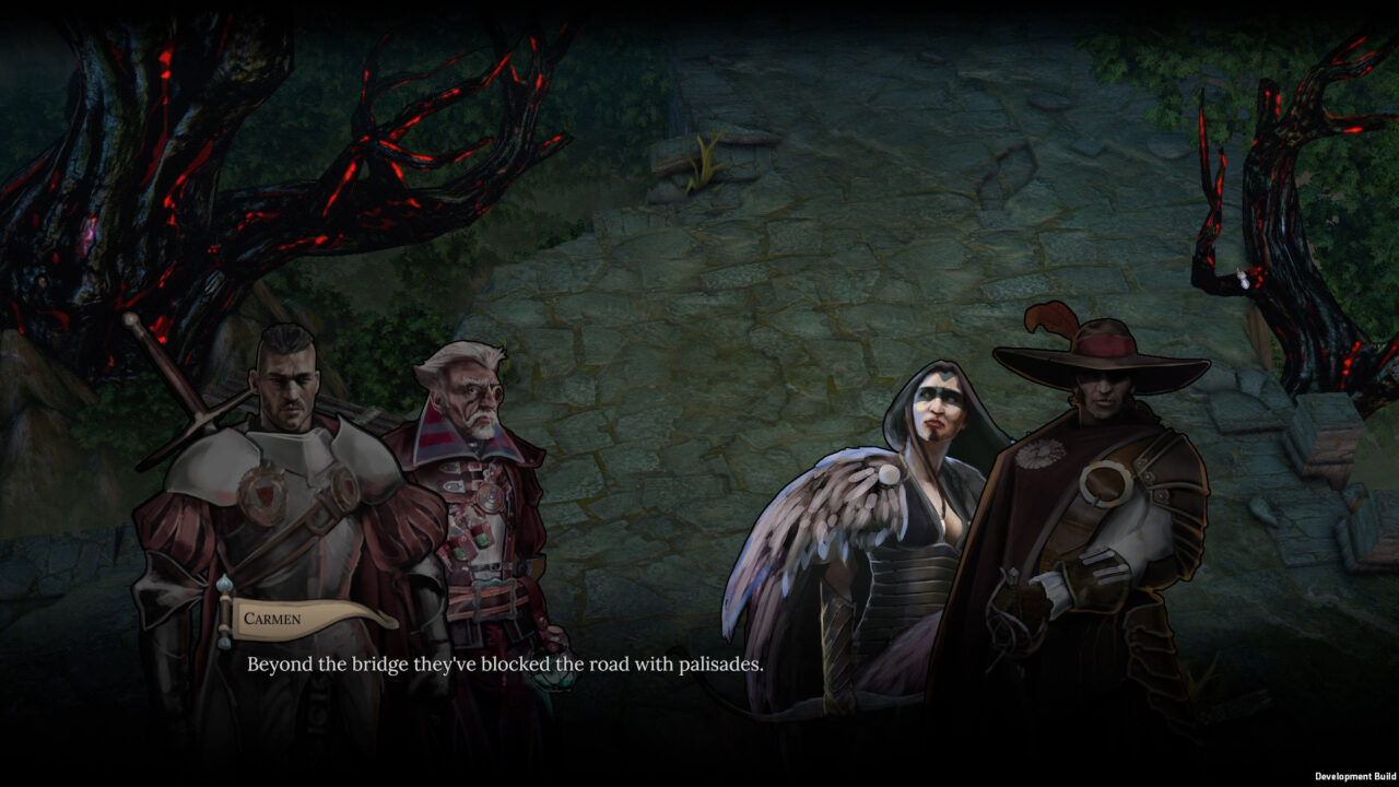 Scarlet Republics screenshot featuring a conversation between four characters in a dark forest.