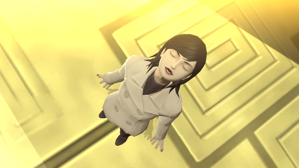A woman with eyes closed standing upon a golden floor in Shin Megami Tensei III: Nocturne HD Remaster.