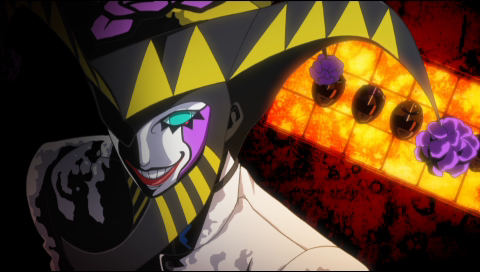 Persona 2: Innocent Sin screenshot of the Joker persona, a humanoid figure with a white and purple face, green eyes, and creepy smile in a striped black and yellow spiky headpiece.