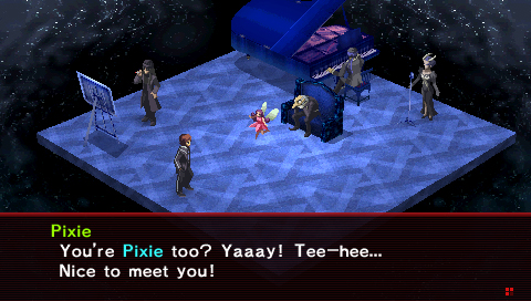 Persona 2: Innocent Sin screenshot of characters negotiating with a small demon named Pixie, a brunette female in a red dress with white wings.