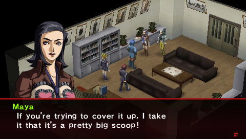 Persona 2: Innocent Sin screenshot of a dark-haired woman talking to a group of people in an isometric-perspective room with couches, tables, and bookcases.