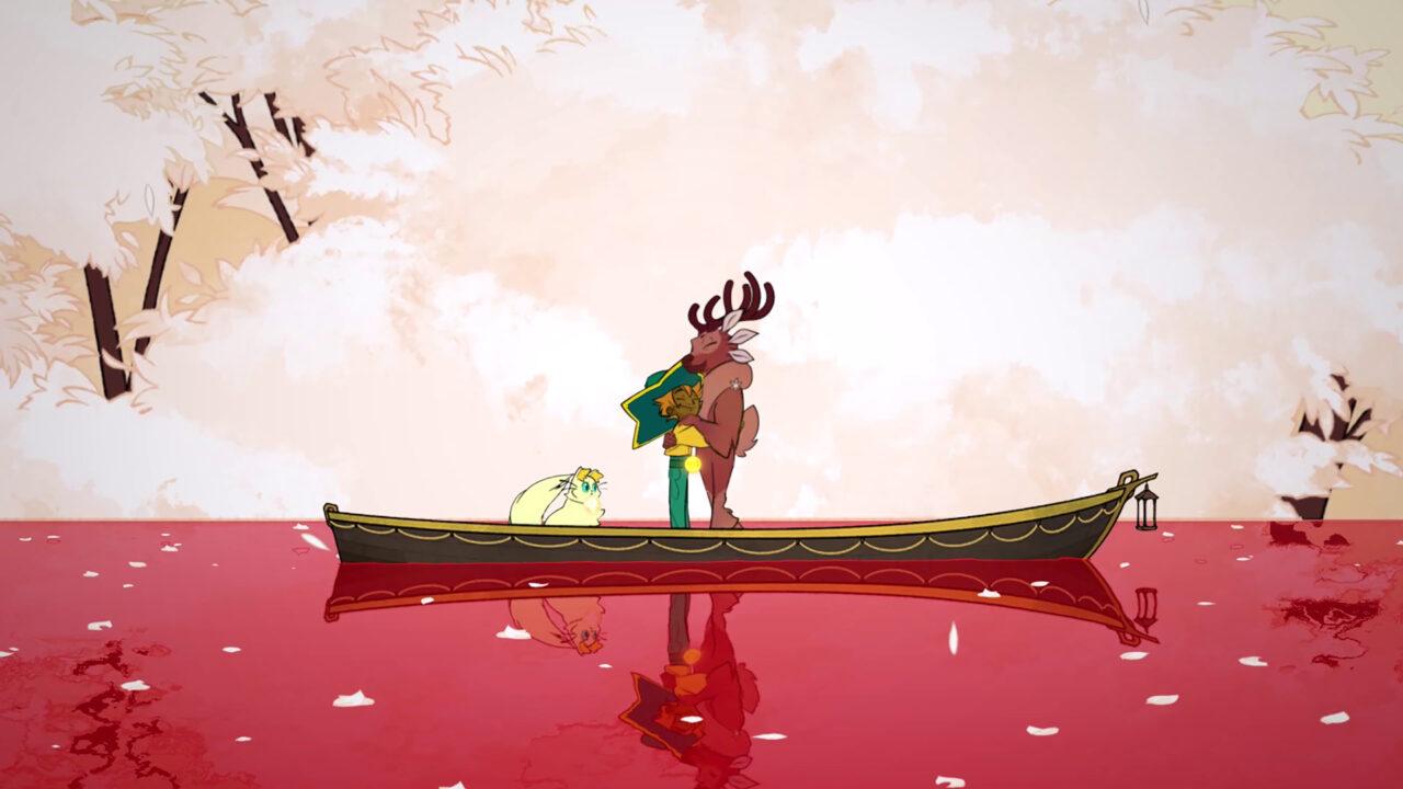 Spiritfarer screenshot featuring Stella hugging her deer friend on still waters, presumably near the Everdoor.