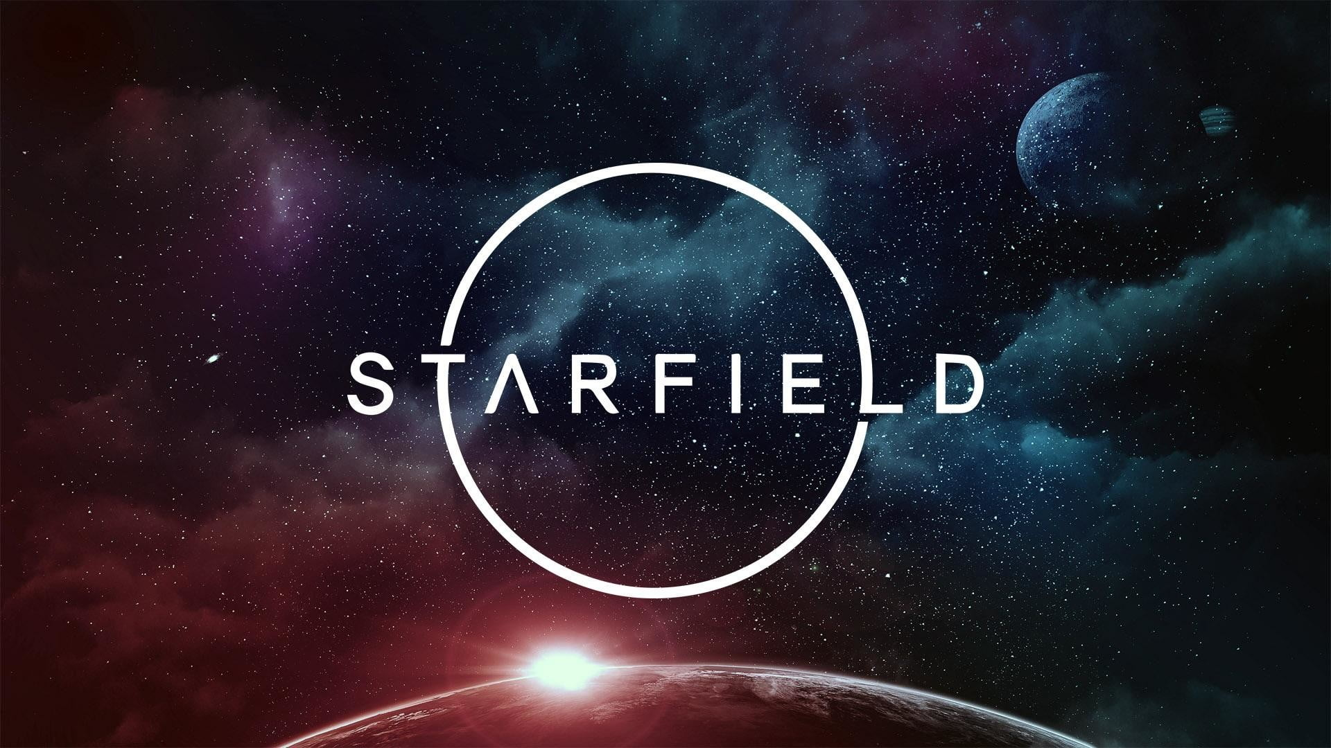 A breathtaking, multicolored, space vista showcasing the logo for upcoming Bethesda RPG Starfield.