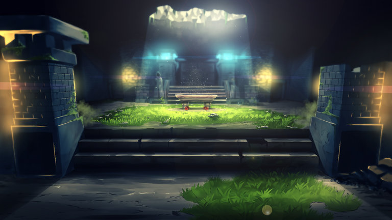 A foreboding throne surrounded by grass and stone in Sword of the Necromancer.