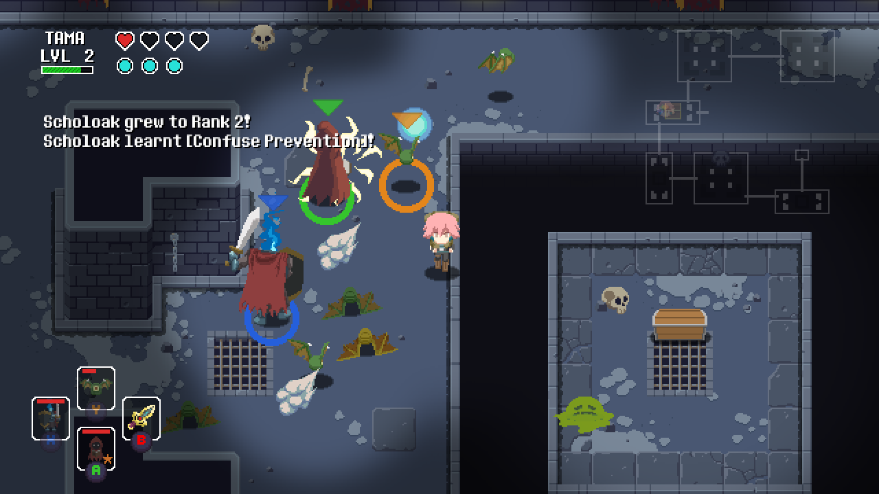 Tama surrounded by monsters in the crypt of the Sword of the Necomancer