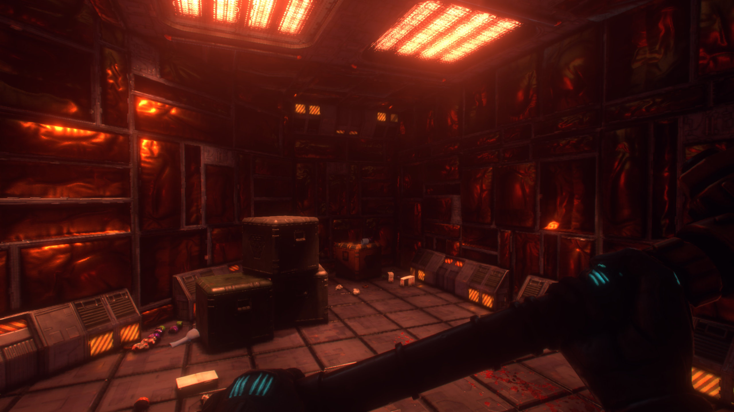 The protagonist of System Shock surveys a neon-lit dead end, holding their trusty wrench to help ward off enemies.