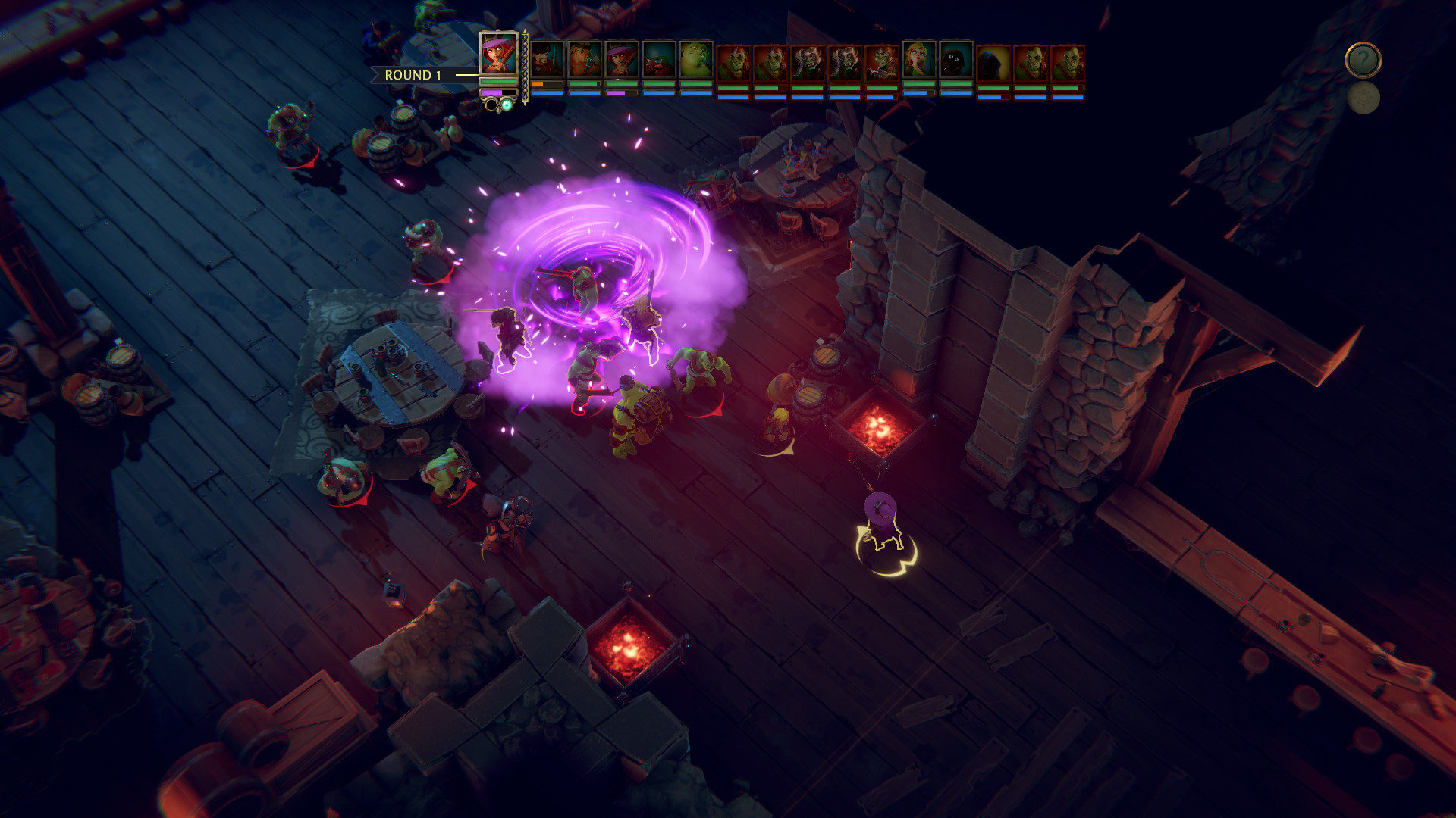 Dungeon-crawling gameplay in The Dungeon of Naheulbeuk: The Amulet of Chaos.