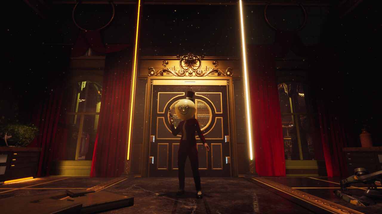 The Outer Worlds Peril on Gorgon screenshot of a humanoid with a moon for a head wielding a gun, standing in front of a golden doorway flanked by red curtains