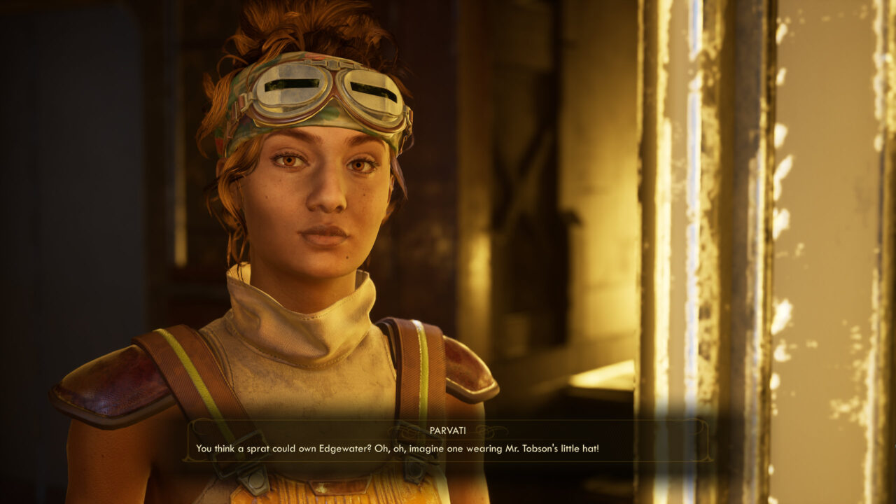 Parvati talking to the player character in The Outer Worlds