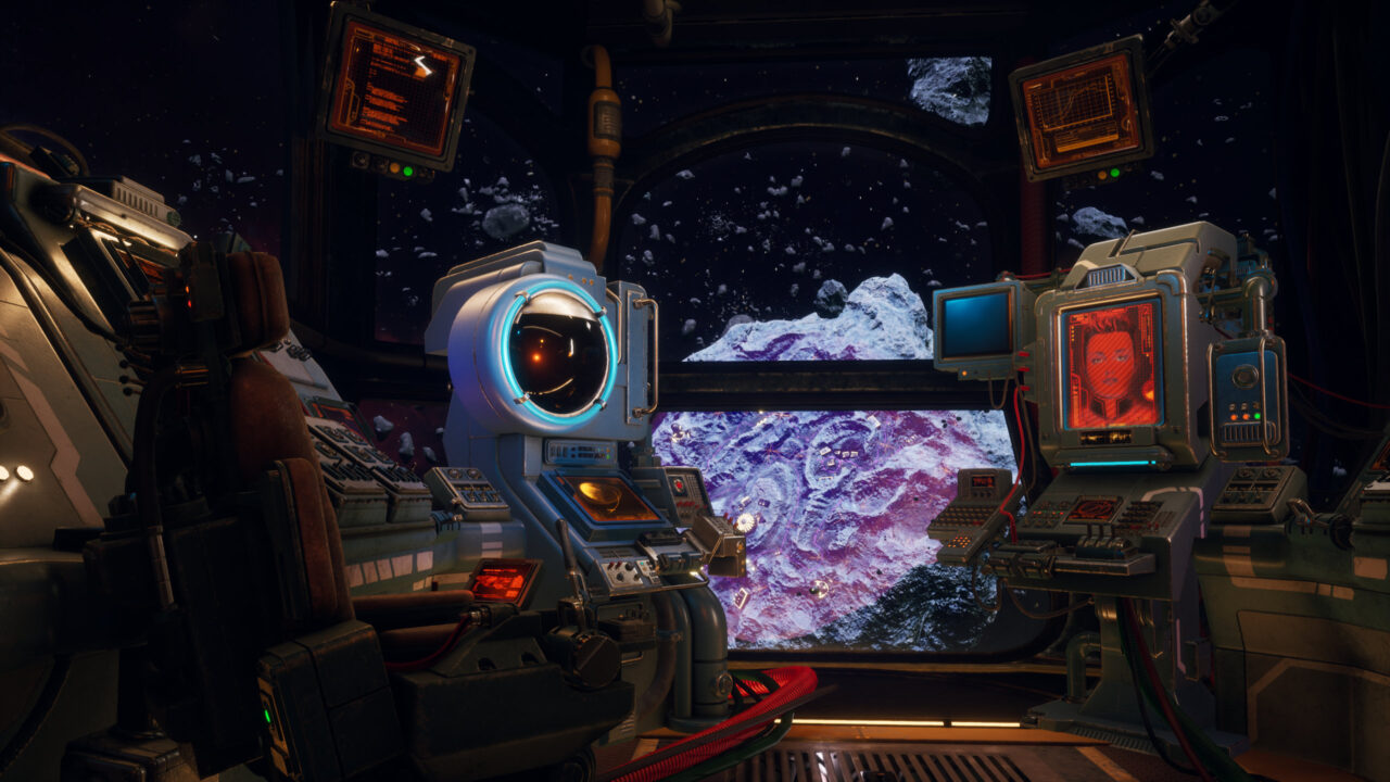 The Outer Worlds Peril on Gorgon screenshot of a cockpit of a spaceship with multiple computer terminals and video screens flanking a large viewport with a colorful colonized asteroid visible outside