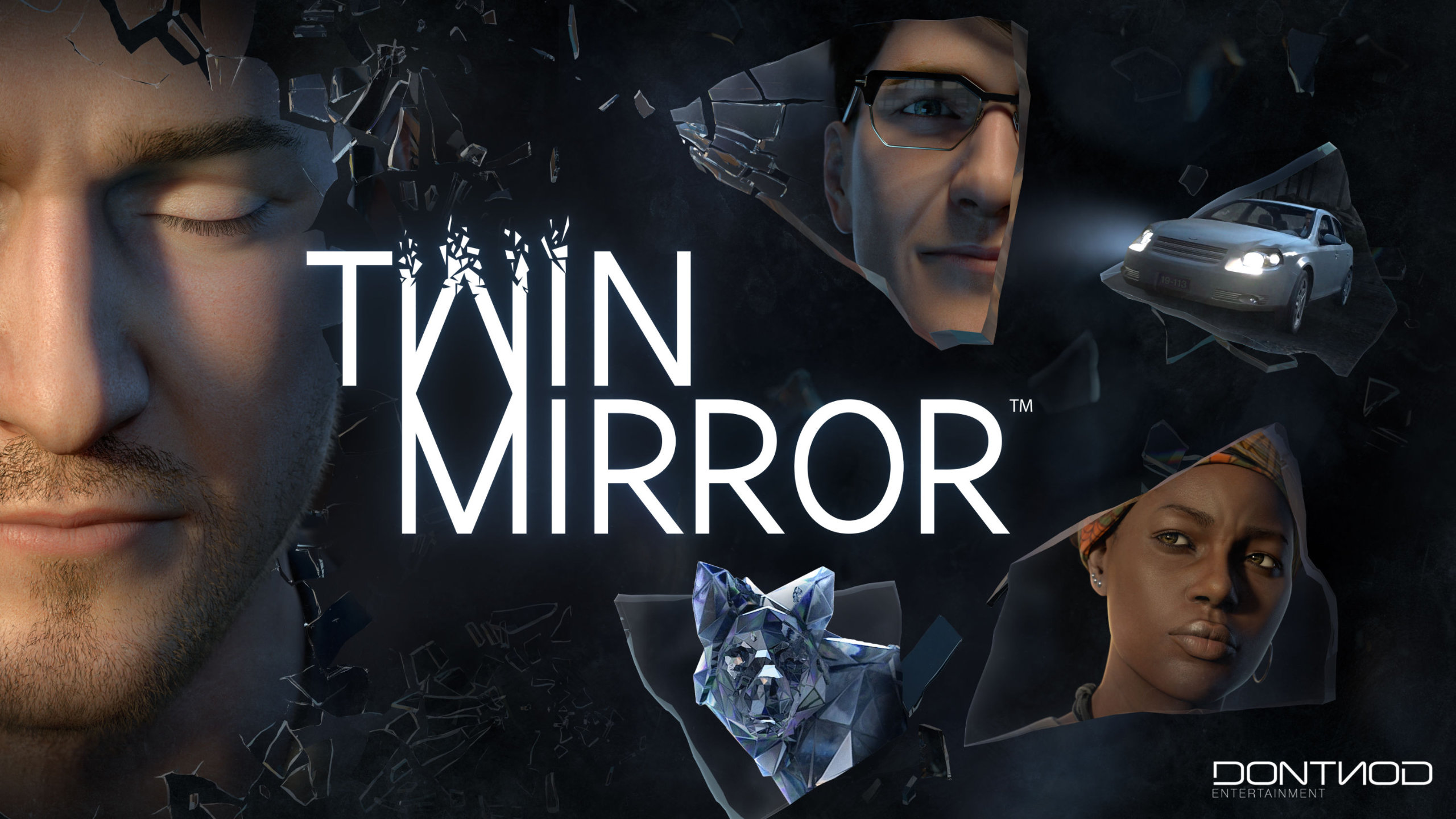 Twin Mirror artwork depicting multiple characters' faces and a white car as reflections in shards of glass