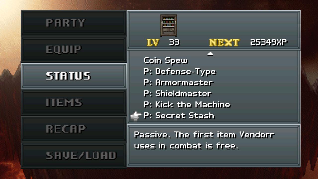 Vendorr's battle menu, including Coin Spew, armor, shield, kick the machine, and secret stash options!