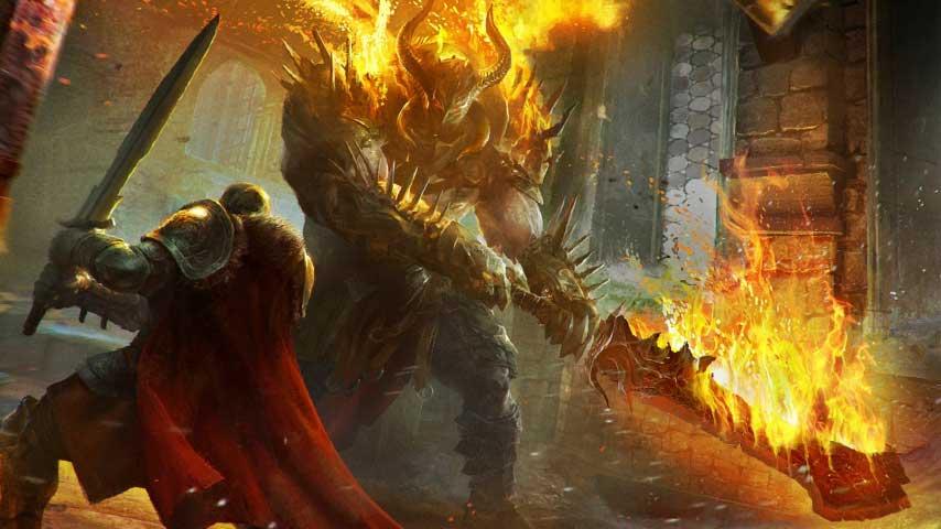 Lords of the Fallen protagonist Harkyn battling a fiery foe.
