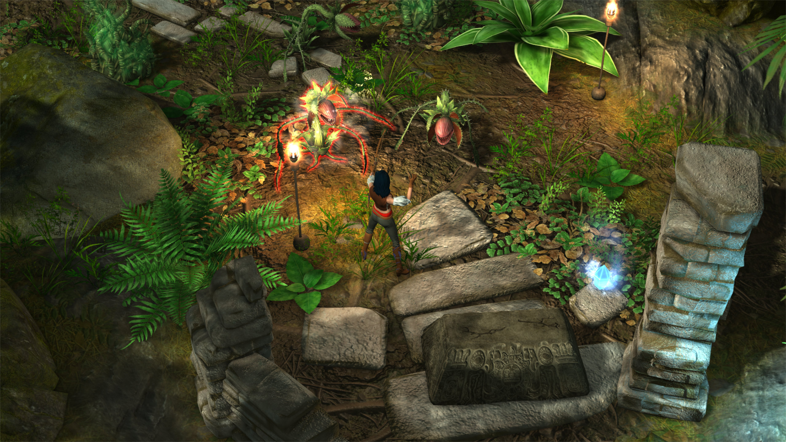 The vibrant Incan world of Aluna: Sentinel of the Shards, with the main character fighting two carnivorous plants. There are stone ruins and overgrown green plants surrounding the character and enemies. The characterr has dark hair, and is wearing a brown top with grey bottoms.
