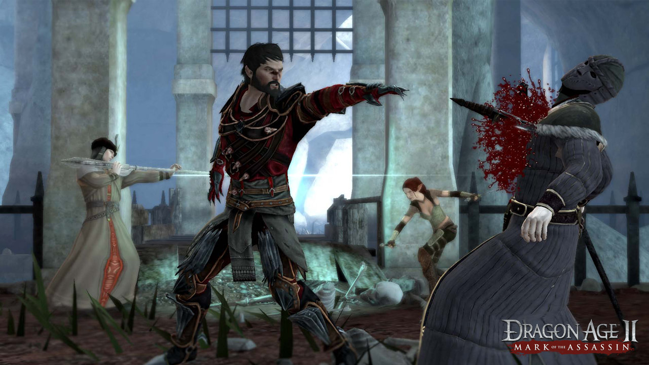 An image of Hawke pointing in Dragon Age II