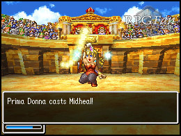 A screenshot from an arena battle in Dragon Quest 4