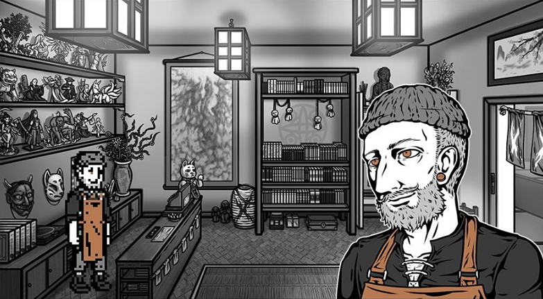 A man with an orange apron behind the counter of a creepy curiosity shop.