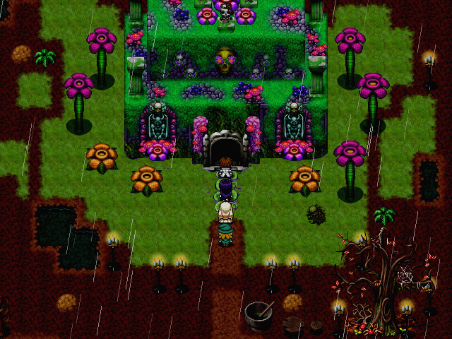 Multiple characters meet in the rain in Fantasy Heroes 2.