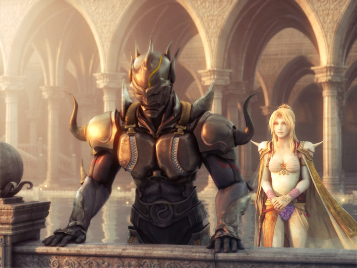 Dark Knight Cecil looks pensive on a castle balcony with his partner Rosa looking on concerned in this Final Fantasy IV screenshot.