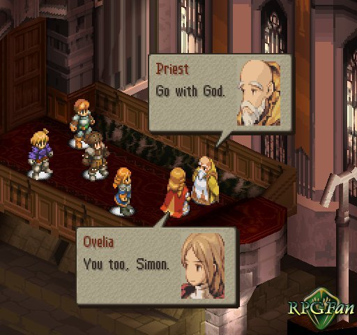An image of a discussion involving Ramza and Ophelia in Final Fantasy Tactics