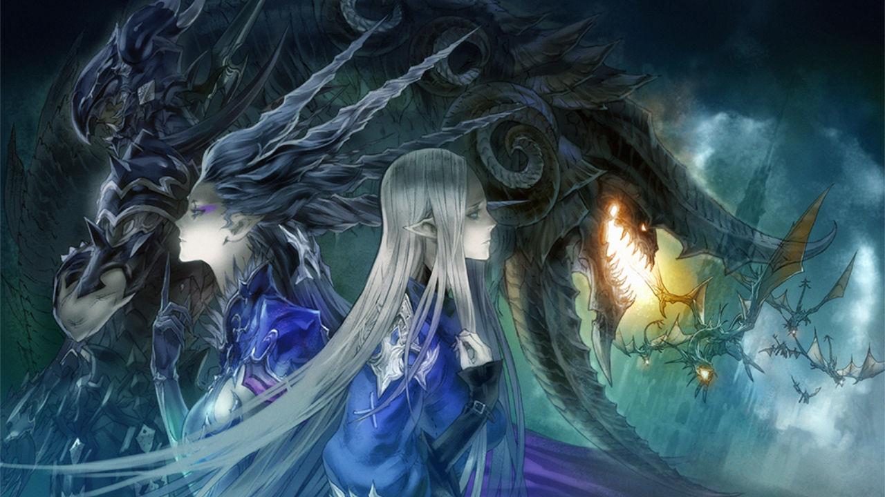 Final Fantasy XIV Heavensward artwork of Estinien, Shiva, Ysayle, and Nidhogg