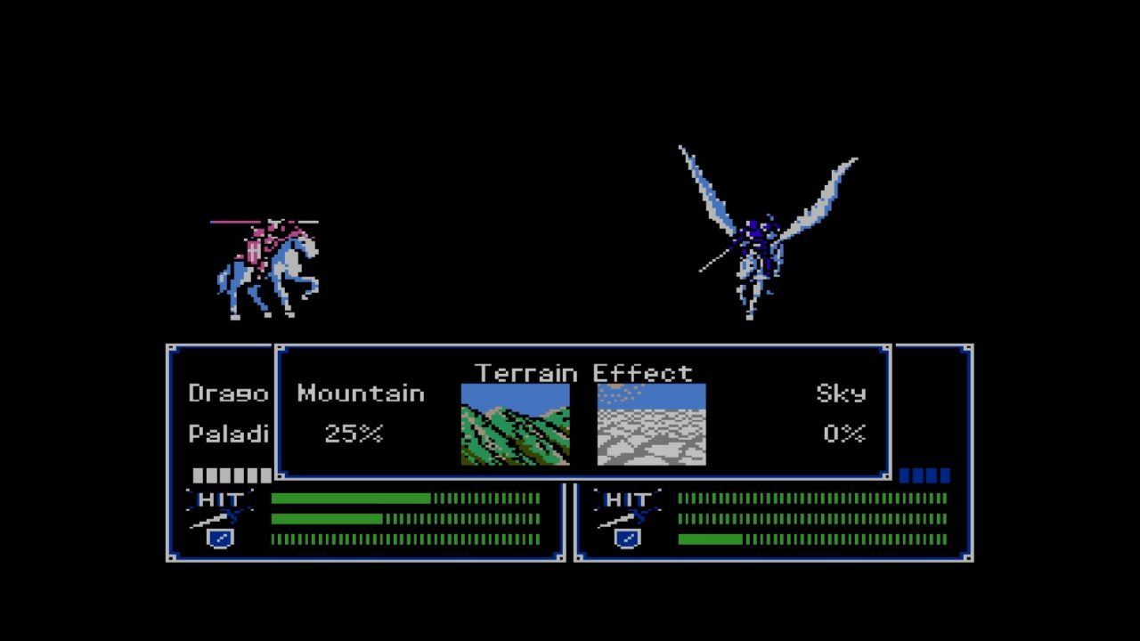 A screen comparing terrain for a cavalry unite and a winged cavalry unit: Mountain 25% and Sky 0%