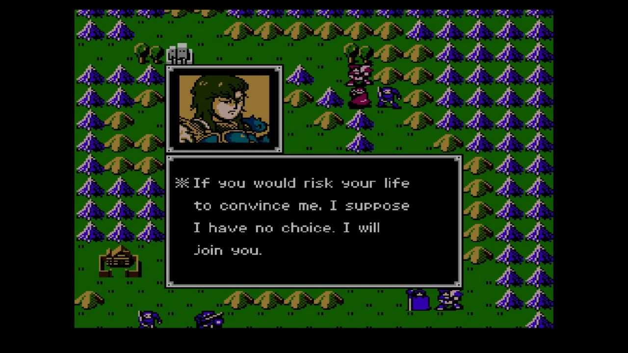 Dialogue occurs over the field map in Fire Emblem: Shadow Dragon & The Blade of Light.