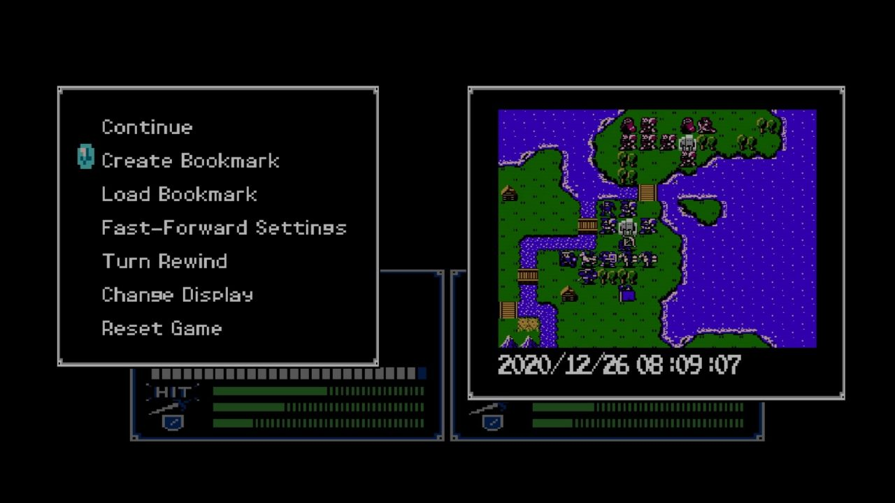 A settings menu with bookmark and fast-forward/rewind options to the left of the map screen.
