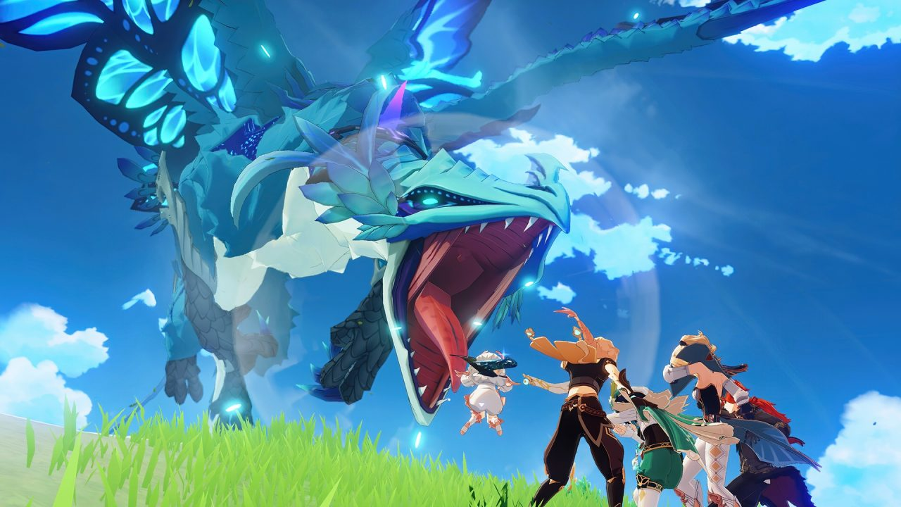 Screenshot from Genshin Impact featuring a large dragon, jaw agape, coming at the heroes.
