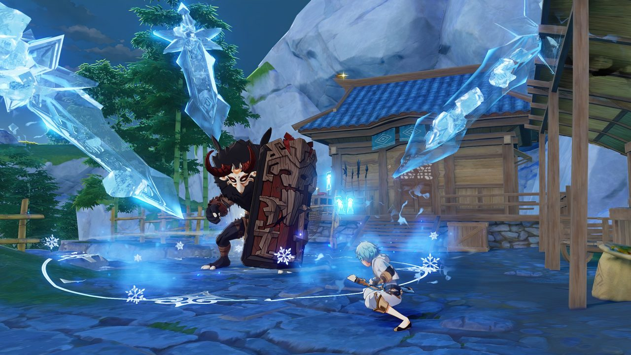 Genshin Impact screenshot: Using ice to fight a monster carrying a shield.