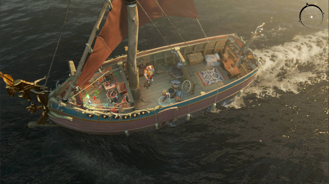 The heroes convene in Fireweed, a small but useful boat with a red sail in this Iron Danger screenshot.